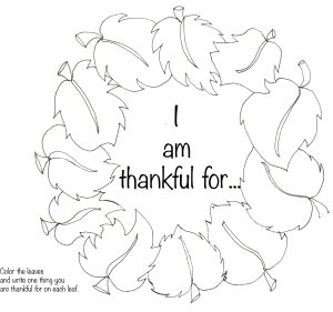 Thanksgiving Wreath Coloring PageThankful